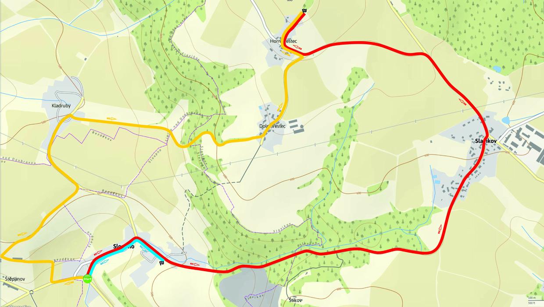 Mapa tras cyklistické časovky Sloupno - Horní Vestec