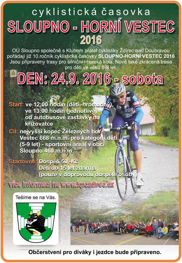 Cyklistická časovka Sloupno - Horní Vestec 2016 - plakát
